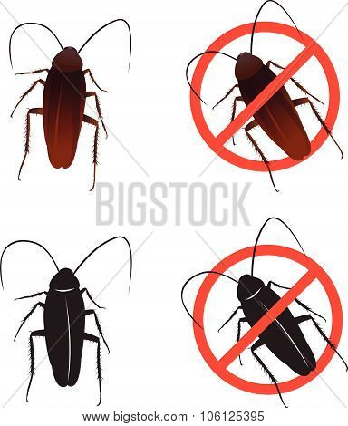 Cockroaches and Stop cockroach sign symbols vector design