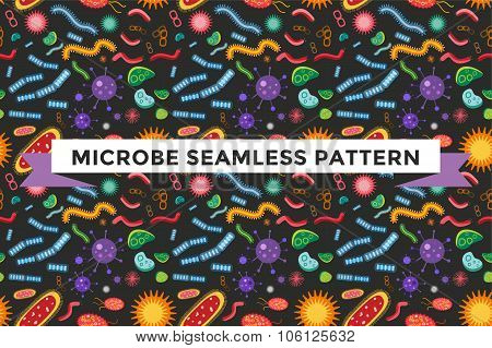 Bacteria virus vector seamless pattern