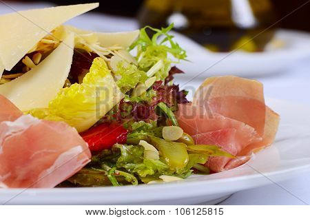 The Salad From Vegetables With Veal