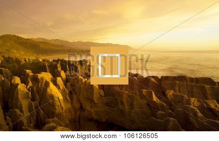 Panaroma Of Pancake Rocks In The Scenic Mountains Concept