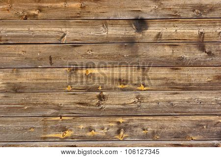 Old Scratched Brown Wood Panel Horizontal Texture