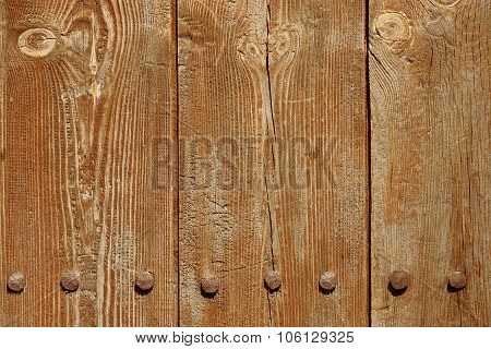 Old Wood Plank Panel With Forged Rusty Iron Nails Texture