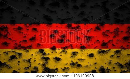 Flag of Germany, German flag painted on wall with bullet holes