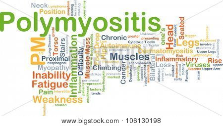 Background concept wordcloud illustration of polymyositis PM