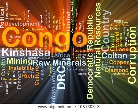Background concept wordcloud illustration of Congo glowing light