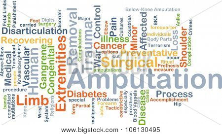 Background concept wordcloud illustration of amputation