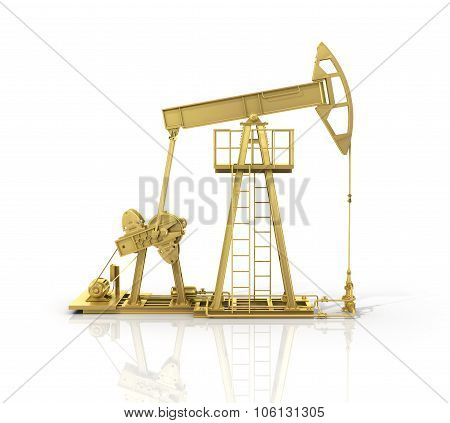 Concept Of Energy Resourse. Gold Oil Tower.
