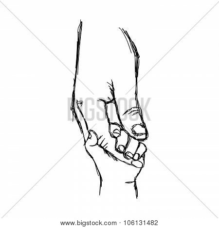 Illustration Vector Doodle Hand Drawn Sketch Of Parent Holds The Hand Of A Small Child.