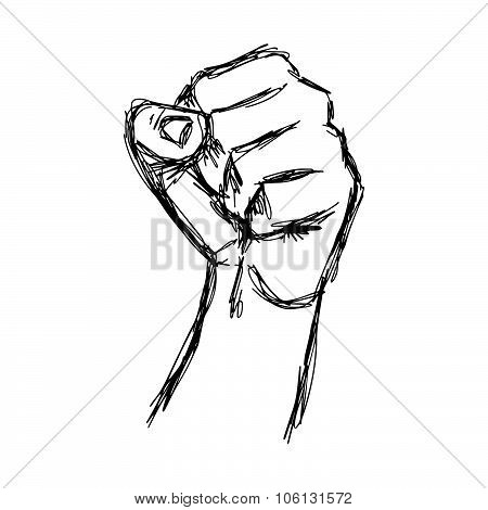 Illustration Vector Doodle Hand Drawn Of Sketch Raised Fist, Protest Concept.