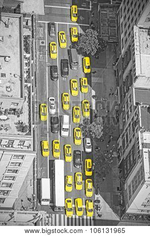 New York Taxis From Above, Black And White Picture With Yellow Cabs, Usa.