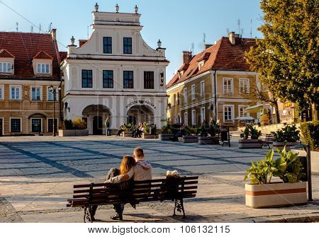 Sandomierz, Poland - 16 October, 2015: Peace And Rest On The Old Town Square In Sandomierz