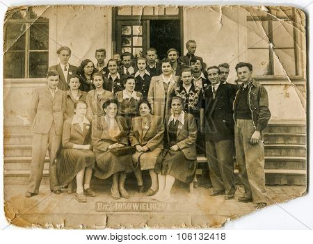 WIELICZKA, POLAND, JUNE 3, 1950: Vintage photo of group of people during an excursion