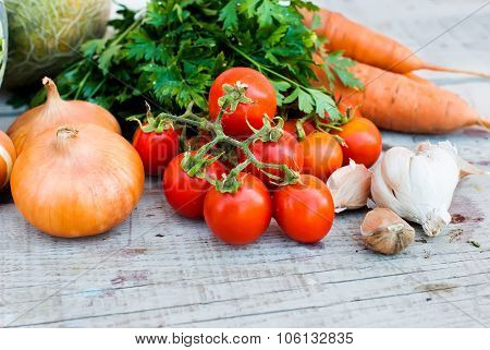 Autumn Vegetables On The Table - Tomatoes, Peppers, Eggplant, Zucchini