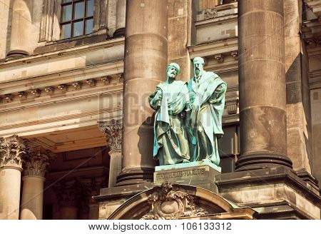Massive Sculptures On The Facade Of The Berliner Dom Structure
