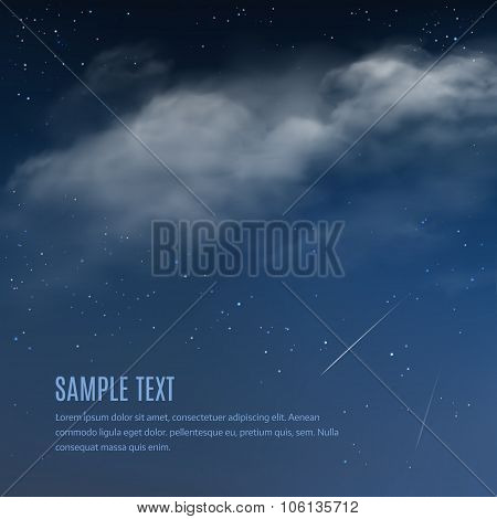 Night Background, Clouds And Shining Stars On Dark Blue Sky. Vector Illustration Of Night Sky