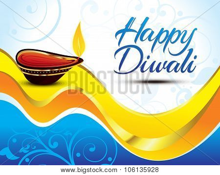 Artistic Blue Happy Diwali Background