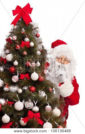 Vertical shot of Santa Claus hiding behind a Christmas tree and holding a finger on his lips isolated on white background