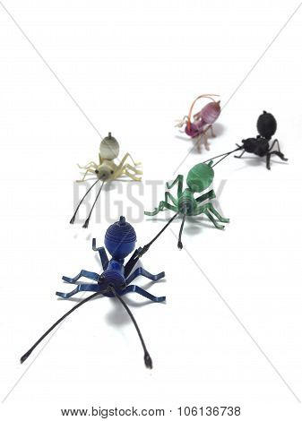 Plastic sheets model of ants
