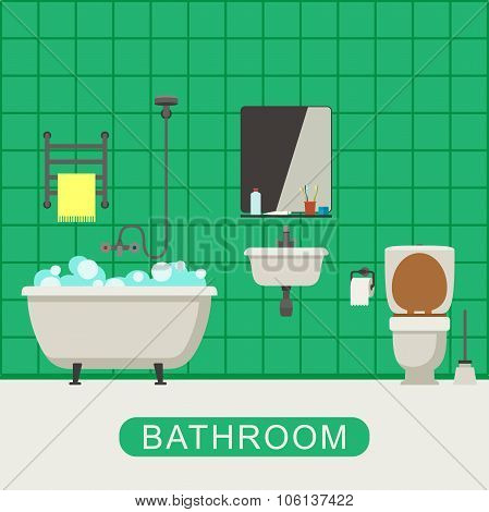 Flat illustration of bathroom.