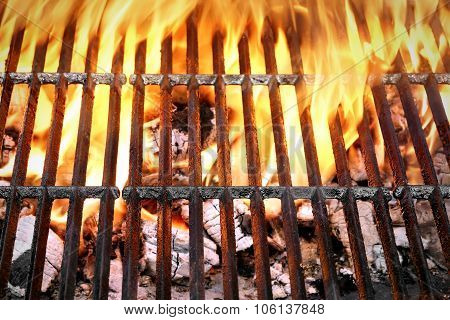 Empty Barbecue Grill With Bright Flames Closeup  Top View