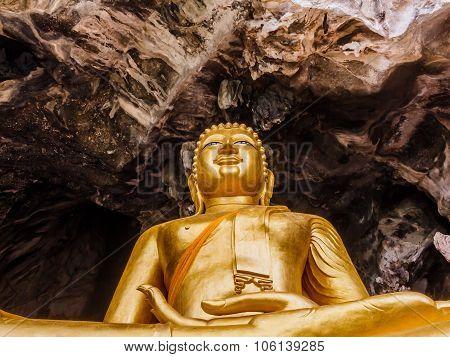 Golden Buddhist  In Wild Cave