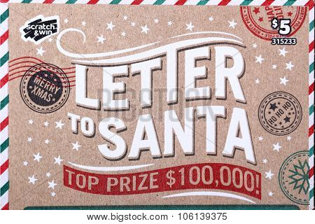 Coquitlam BC Canada - October 24, 2015 : Close up letter of santa lottery ticket. The British Columbia Lottery Corporation has provided government sanctioned lottery games in BC since 1985.