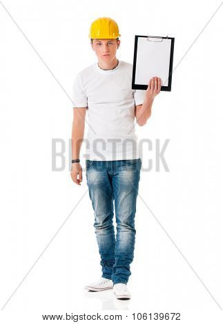 Angry young man in hard hat with clipboard, isolated on white background