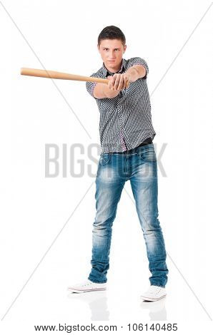 Angry man with wooden baseball bat, isolated on white background