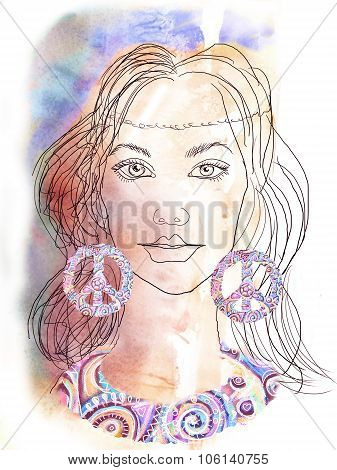 The Beautiful Hippie Girl. Watercolor Background.