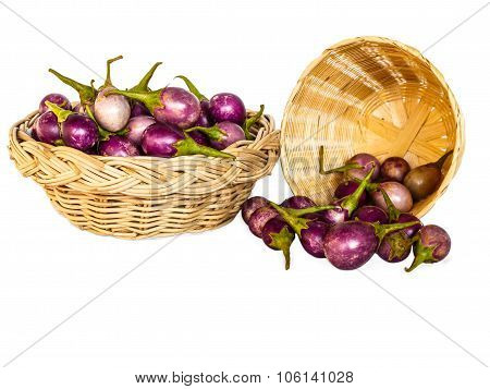Brinjal Purple Isolate On White Background With Clipping Path