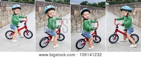 Little kid riding his bike down the street