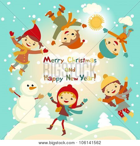 Shiny Vector Christmas Background With Funny Snowman And Children. Happy New Year Postcard Design Wi