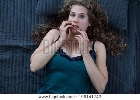 Stressed And Terrified Woman