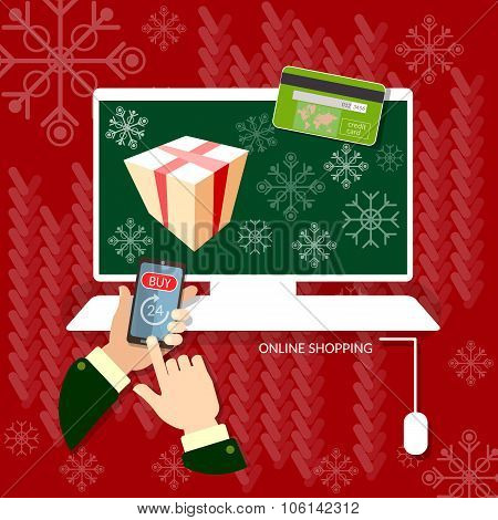 Christmas Shopping Hands Using Smartphone Online Shopping