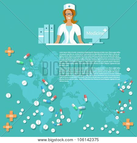 Medicine And Pharmaceuticals with Smiling Nurse Background