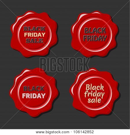 Black friday vector set of red wax stamps