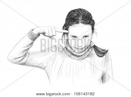 Teenager girl gesturing with her finger against temple, Pencil sketch