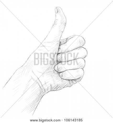 Pencil sketch of Hand with Thumb up