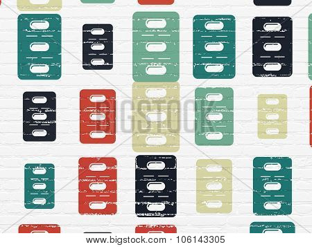 Healthcare concept: Pills Blister icons on wall background