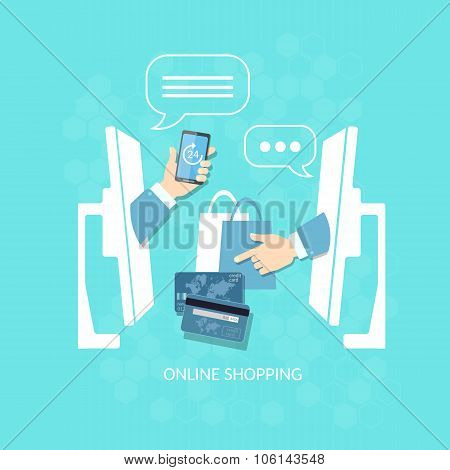 E-commerce Online Shopping Buying And Selling Internet Payment Concept Vector