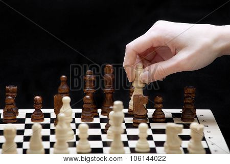 The Beginning Of A Chess Game And A Hand