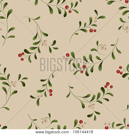 Green sprig with red berries seamless Christmas background