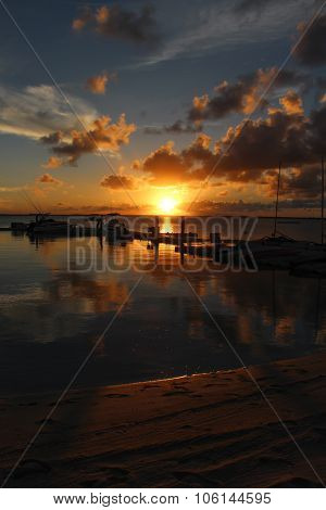 Sunset at Boats Pier in Andros Island