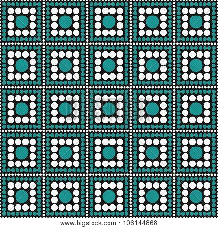 Teal, Black And White Polka Dot Square Abstract Design Tile Pattern Repeat Background