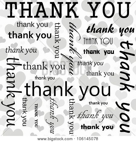 Thank You Design With Gray And White Hearts Tile Pattern Repeat Background