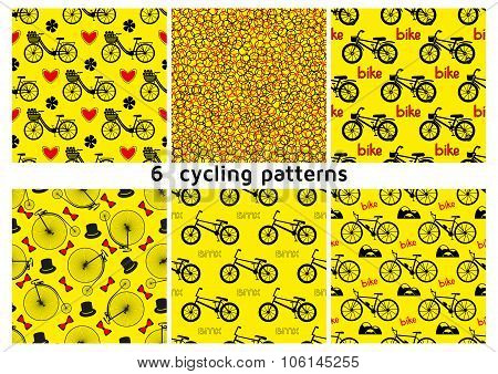 Six seamless bicycle pattern.  City bike with hearts and flowers. BMX bike. Mountain bike. Kids bike