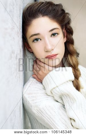 Portrait Of A Teen Girl Sad Green Eyes Looking At The Camera