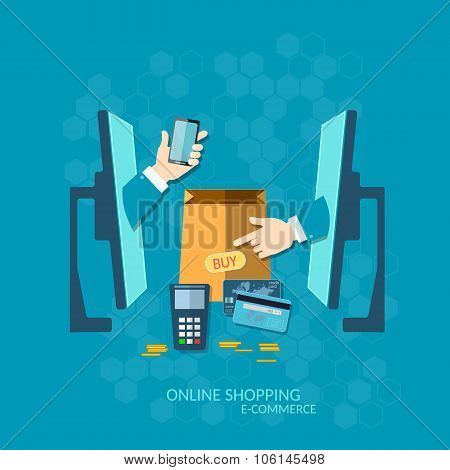 E-commerce NFC Payment Online Shopping With Credit Card Communication Technology Concept