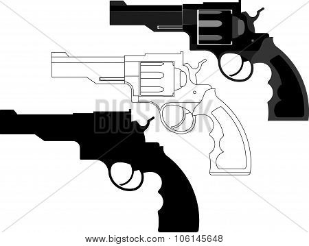 revolver, gun, weapon - vector illustration