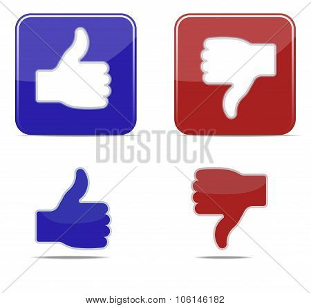 Thumbs up and thumbs down symbol icons. Vector illustration